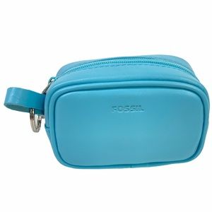 FOSSIL Leather Blue MINI Change Purse Coins